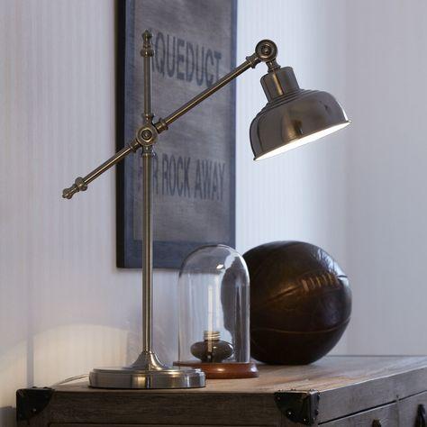 Lampe de bureau articulée en métal antique hauteur 56cm Grimstad