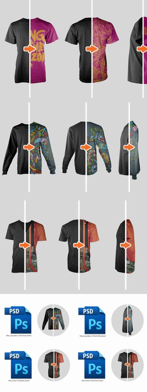 Multiple Views Men's Ghosted PSDs
