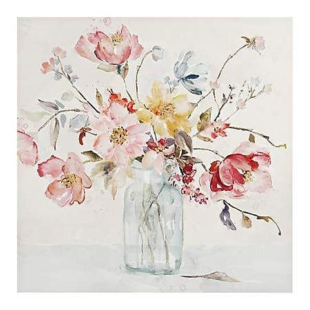 Watercolor Floral Vase Canvas Art Print Floral Watercolor