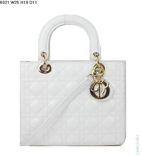 a8dc1690f8cc Сумка Диор модель Lady Dior из натуральной кожи белого цвета с золотистой  фурнитурой