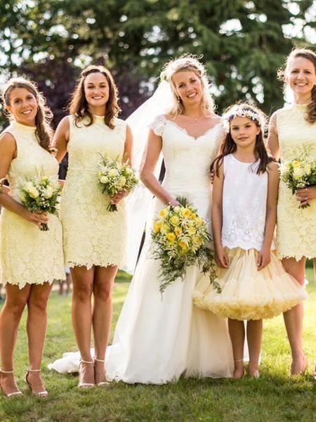 Unique Yellow Lace High Neck Sleeveless Short Bridesmaid Dresses Bw049 Yellow Bridesmaid Dresses Short Short Bridesmaid Dresses Short Lace Bridesmaid Dresses
