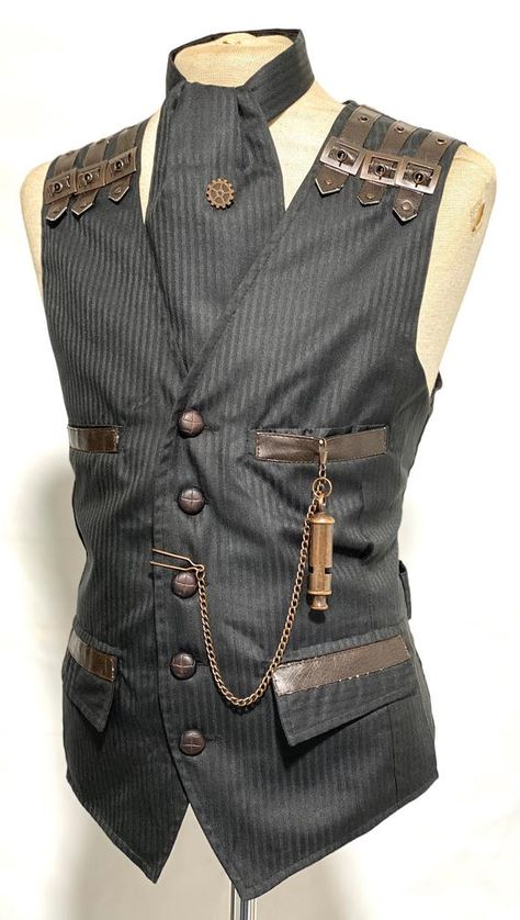 Steampunk - 4 pcs Steampunks Black Pinstripes suit fabric Waistcoat and cravat leather buttons, Tiepin & pocket Chain to fit Chest by SteamEraProduction Gothic Fashion Men, 1800s Fashion, Victorian Mens Fashion, Victorian Outfits, Steampunk Clothing, Steampunk Men, Steampunk Fashion Men, Steampunk Wedding, Victorian Steampunk