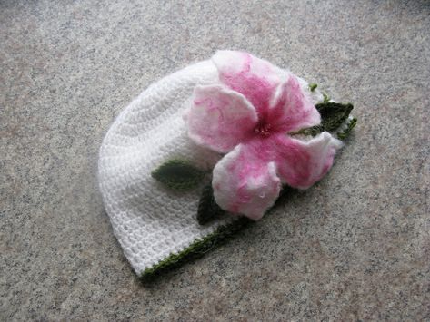 026c473e4c3 Knit Baby Hat With Large Felt Flower Newborn Bow Beanie Hat Crochet Reborns Dolls  Hat Hand Knit Baby Girl Outfit Hospital Baby Girl Hat