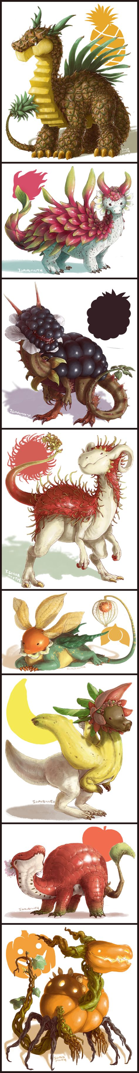 IGUANAMOUTH -- Fruit dragons. http://lizardshuffle.tumblr.com/post/129794410774/iguanamouth-fruit-dragons-click-through-to