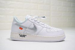 Men's Off White x Nike Air Force 1 07 White Metallic Silver