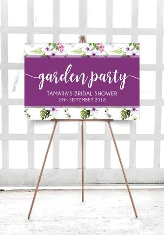 Garden Party Welcome Sign 60 X 90 Cm Landscape Photo Booth Frame Party Bridal Shower