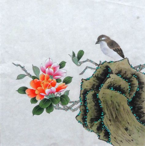 100% Hand painted, Original Chinese painting,bird and flower painting,Rhododendron, Chinese watercolor painting, wall art, 34x34cm #Leechees #originalpainting #painting #chinesepainting #chinesebrushpainting #inkwashpainting #watercolorpainting  #watercolorpaintings#watercolourpaint #handpainted #handmade #orientalart #asianart #art #artwork #artworks #originalartworks #originalpaintings #originalpainting #originalart #unique #Chineseart #birdpainting #flowerpainting
