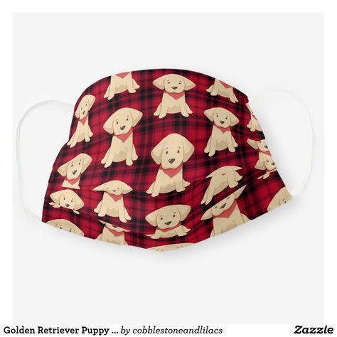 Golden Retriever Puppy Red Scarf Buffalo Check Cloth Face Mask Zazzle Com In 2020 Red Golden Retriever Puppy Retriever Puppy Golden Retriever Puppy