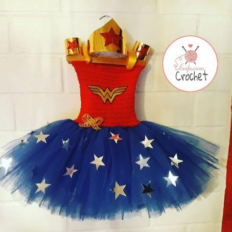 Vestido De La Mujer Maravilla A Crochet Con Tul Hecho A Mano