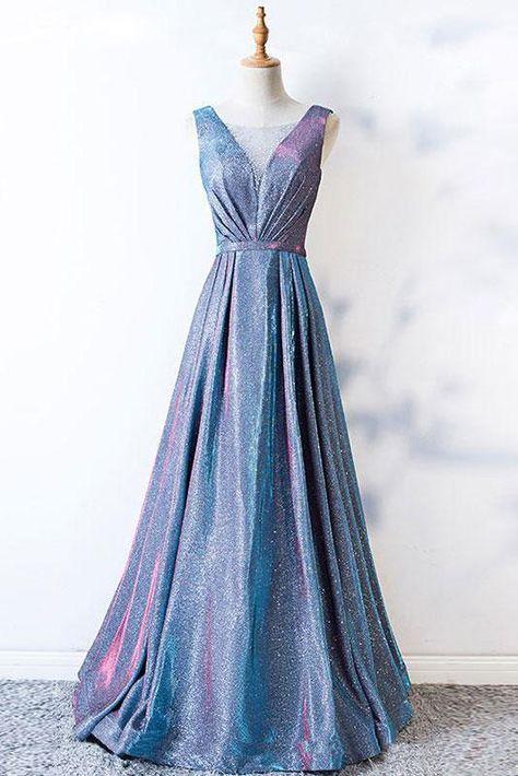 A Line Blue Lace up Ruffles Prom Dresses V Neck Satin Long Cheap Evening Dresses PW675