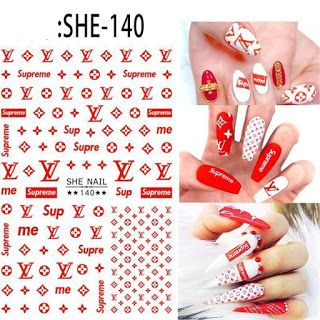 Nail Designs Stickers Fashion Designer Inspired Nail Stickers Available Supreme Lv Coffinnails Nail Stickers Decals Nail Stickers Designs Nail Decals