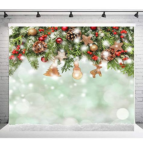 10x10 Background Backdrop for Photography Red Christmas Glitter Tree Red Gifts with White Snowflake Photo Background Backdrop for Xmas Seamless