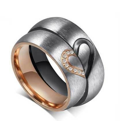 Fashion CZ Couple Rings Forever Love Heart Brushed Titanium Steel Wedding Ring