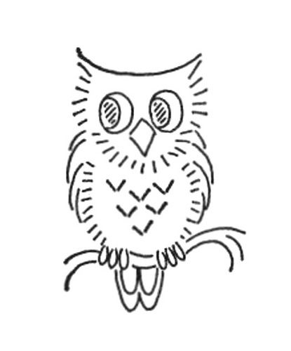 Vintage embroidery pattern.  Artist unknown. #embroider #pattern #owl