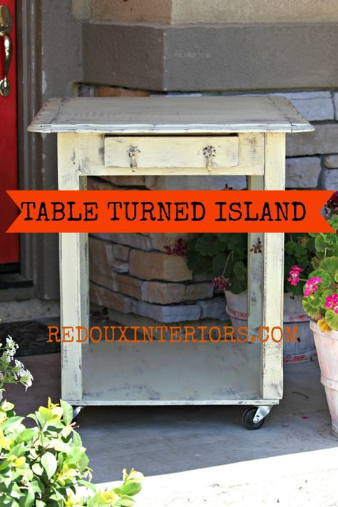 Make a table into an island with a board and wheels