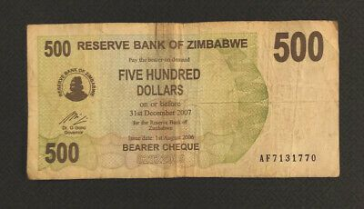 5 x Zimbabwe 500 million dollar bearer cheque banknotes-aUNC currency