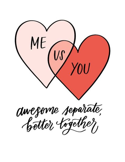 Me You Us Hearts Venn Diagram Love Valentines Card for Boyfriend Girlfriend Husband Wife