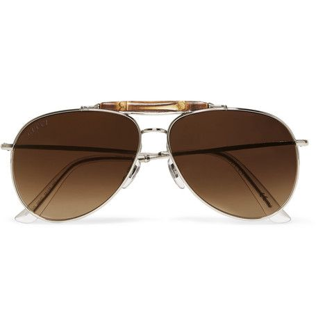 49ef34d7cf6 Gucci Bamboo-Trimmed Metal Aviator-Style Polarised Sunglasses ...