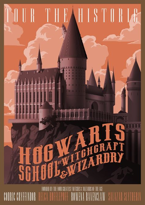 Hogwarts school of witghcraft and wizardry Harry Potter traveling retro style Home Decoration artwork movie Poster