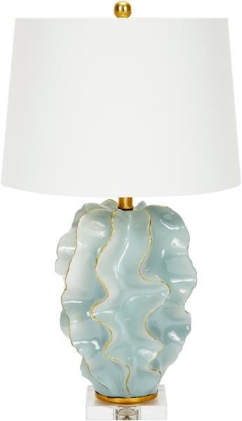 Old World Design Llc Hannah Blue Wave Table Lamp Hannah Blue Ceramic Wave Lamp With Gold Accents White Linen Sha Linen Shades Table Lamp Blue Ceramics
