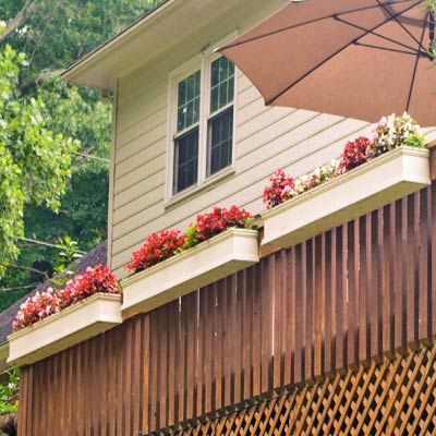 Turn A Back Deck Or Balcony Into A Hanging Garden In 2020 Deck Railing Planters Flower Window Railing Planters