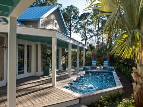 If you want to make your pool look a thousand times better, swimming pool decks can do the trick. It can be concrete or wood decking or vinyl even; installing a swimming pool deck can protect your back yard from… Continue Reading → Swimming Pool Pictures, Small Swimming Pools, Small Backyard Pools, Small Pools, Swimming Pools Backyard, Swimming Pool Designs, Backyard Patio, Backyard Landscaping, Lap Pools