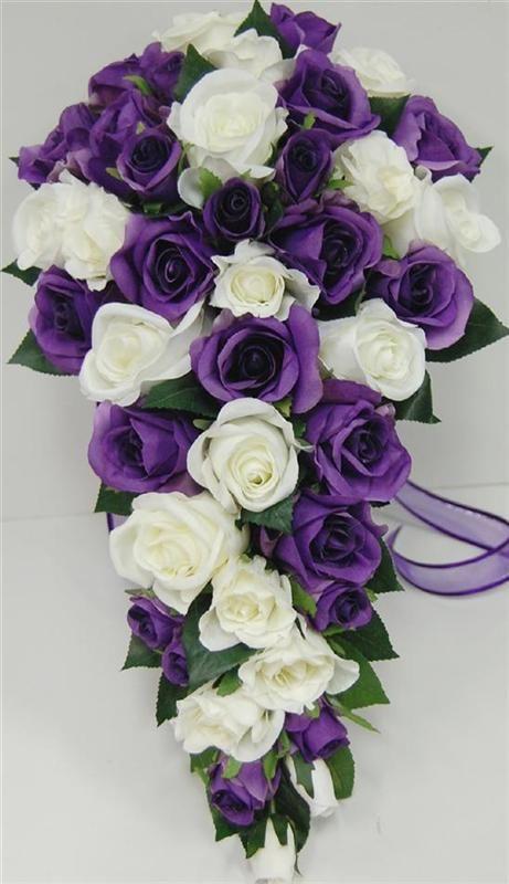 Wedding Bouquet Purple White Rose Teardrop Silk Flowers Artificial Fake Posy