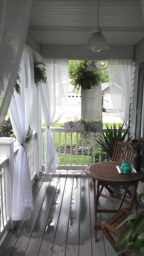 Front Porch With Curtains This Would Be So Cool My Sunny Gardens Small Balconies Pinterest Porches And Sunnies