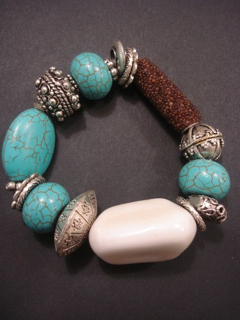 Turquoise and white bracelet by Razelle Troester