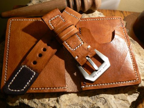 Leather Wallet Bifold And Watch Strap 24mm Business By Goriani