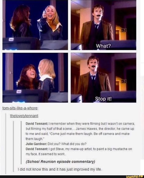 "David Tennant ""School Reunion"" Why Sarah and Rose where laughing mustache Chris Evans, Doctor Who Funny, 10th Doctor, Diy Doctor, School Reunion, Out Of Touch, Fandoms, Don't Blink, David Tennant"