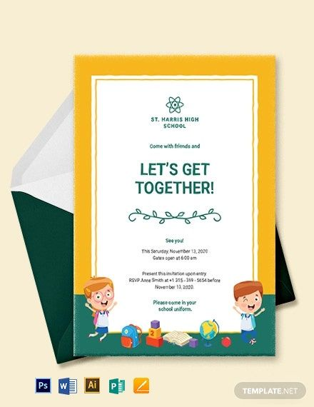 School Get Together Invitation Template Free Pdf Word Psd Apple Pages Illustrator Publisher Invitation Template School Template Invitations