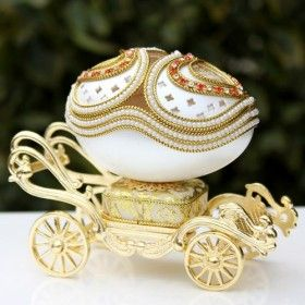 """Gold Carriage"" musical box with Rhinestones"