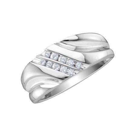 Mens Diamond Wedding Band 1 10 Carat Ctw In 10k White Gold Diamondweddingbands Diamond Wedding Bands Mens Diamond Wedding Bands Wedding Bands