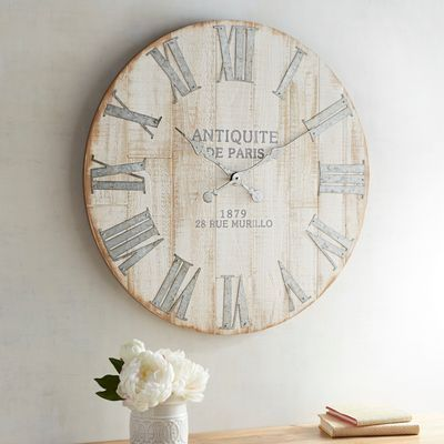An Antique Style Clock That Doesn T Cost A Fortune In Cash And Time Spent Treasure Hunting You Better Believe It Our Exclusive Oversized Cl Rustic Wall Clocks