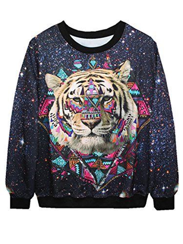 YICHUN Femme Tops de Loisir T-Shirts Tigre Fin Sweaters Sweat-shirts Pull  Blouse Noir af34202ee8b