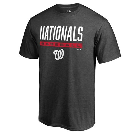 Men's Fanatics Branded Heathered Charcoal Washington Nationals Win Stripe T-Shirt