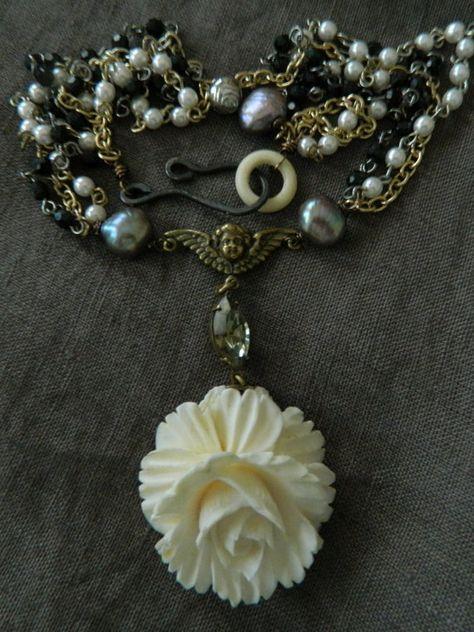 Vintage Carved Bone Rose Cherub Pearls Assemblage by 58Diamond