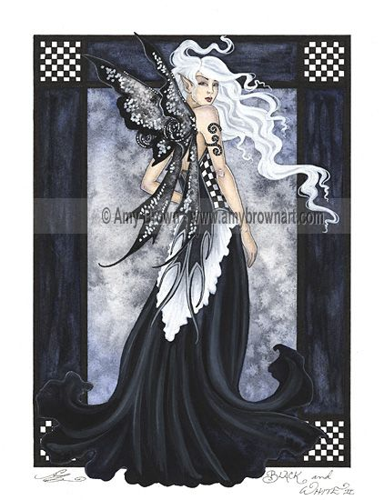 """""""Black and White II"""" ORIGINAL ART - Watercolor Paintings A - H - Amy Brown Fairy Art - The Official Gallery"""
