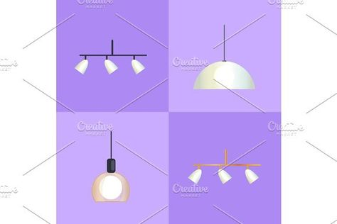 Set of distinct shapes lamps vector illustration decoration