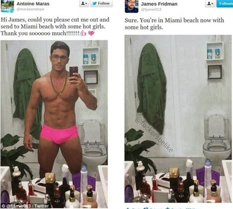 Vanished: The pictures, such as this one above of a man in trunks, mocks society's narcissism