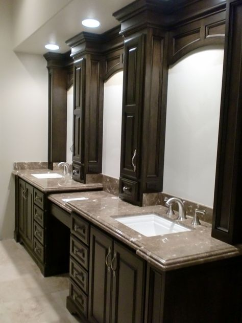 Vanity design for master bath.  Like the can lights instead of fixtures