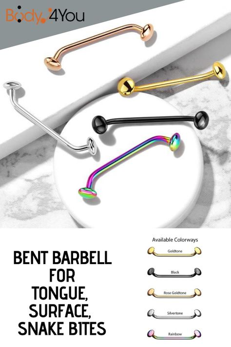 BodyJ4You Bent Piercing Barbell Surface Tongue Snake Bites Eyes 16G Surgical