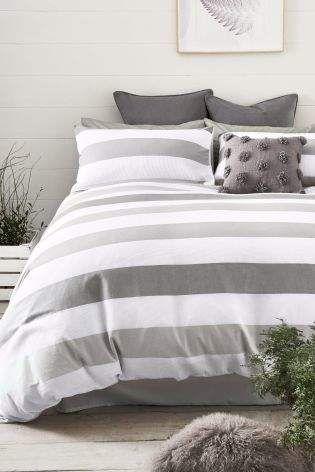 Next Waffle Textured Stripe Bed Set Grey White Bed Set White Linen Bedding Striped Bedding