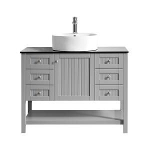 Roswell Modena 42 In W X 20 In D Vanity In Grey With Glass Vanity Top In Black With White Basin 756042 Gr Bg Nm The Home Depot Bathroom Vanity Base Marble Vanity