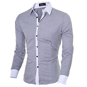 Camisa Social Hugo Boss Manga Longa Slim Fit Branca e Azul