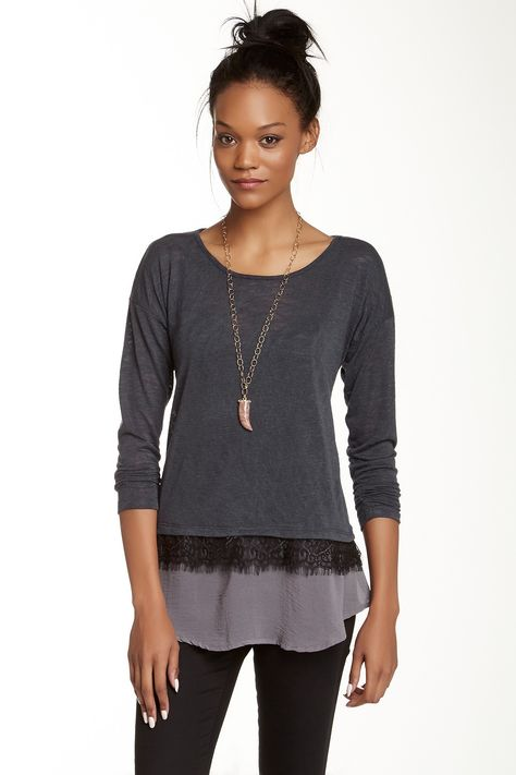 WallpapHer Lace Mixed Media Shirt by WallpapHer on @nordstrom_rack