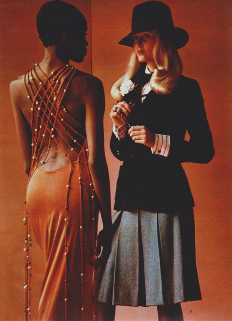 Left - dress: Loris Azzaro Right - jacket and skirt: Annie Jahan for Fouks, hat: Gelot, shirt: Charvet Elle France - September 1971 Photographed by Hans Feurer