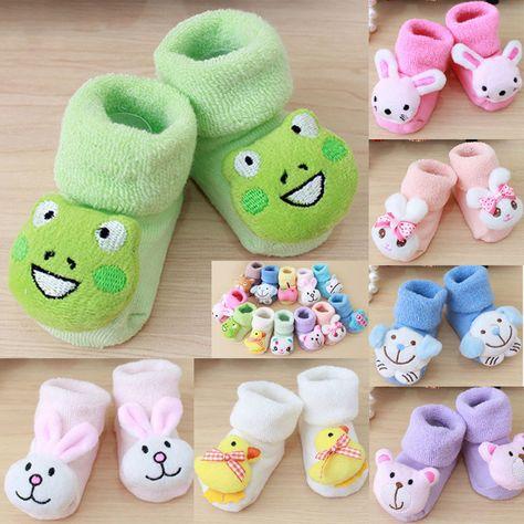 Hot Newborn Baby Cartoon Baby Girls Boys Anti-Slip Socks Slipper Shoes Boots US
