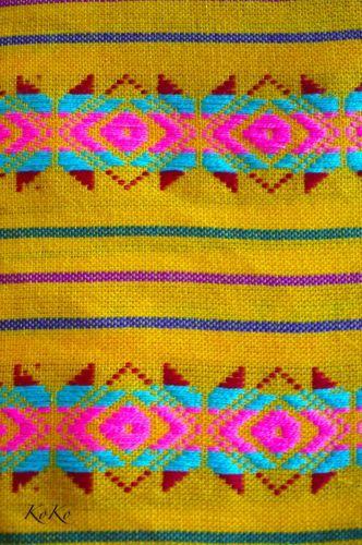 1 Yard Green Mexican Cambaya Fabric Woven//Knit Fabric Ethnic Folk Textiles
